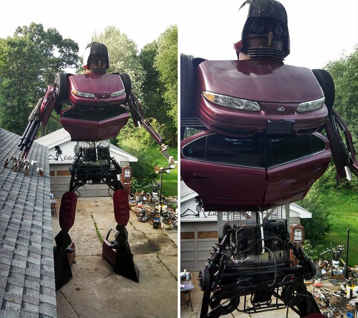 wisconsin man builds 23-foot-tall transformer from an oldsmobile alero