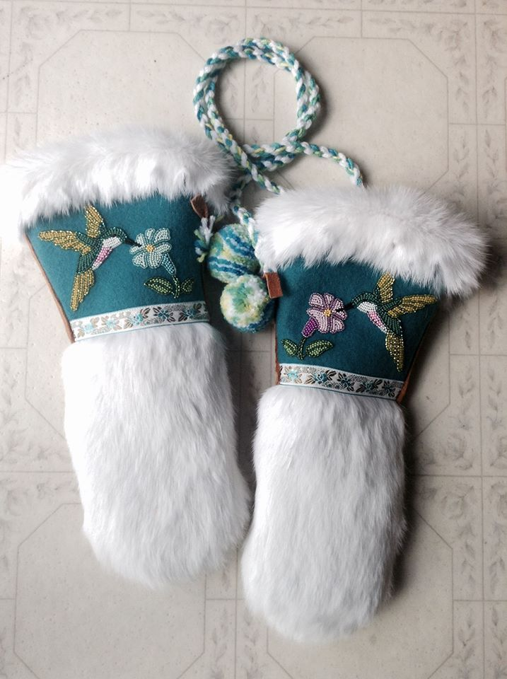 A Pair of Ladies Hummingbird Mitts that I made... Teal Melton, Czech seed beads, Vintage ribbon trim, White rabbit fur, and Moose hide (commercial) These are one of my faves for sure :) Carmen Dennis (Tahltan)