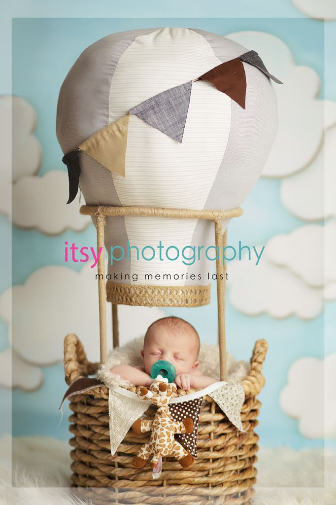 Travel Theme, nursery travel theme, newborn baby in a hot air balloon prop, aviator hat and hot air balloon basket