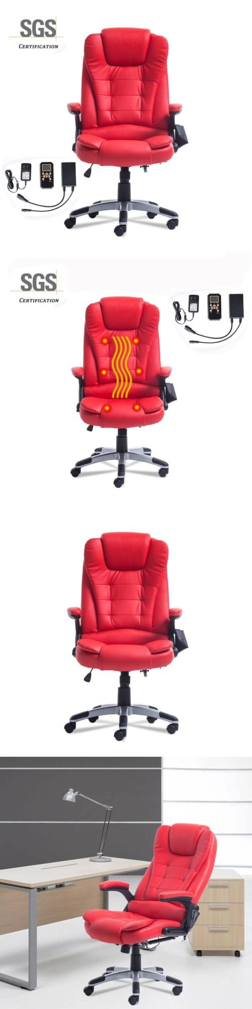 Wood swivel desk chair laquered finish warms amp padded seat ebay - Electric Massage Chairs Red Executive Office Chair Heavy People Bad Backs Heated Vibrating Massaging New