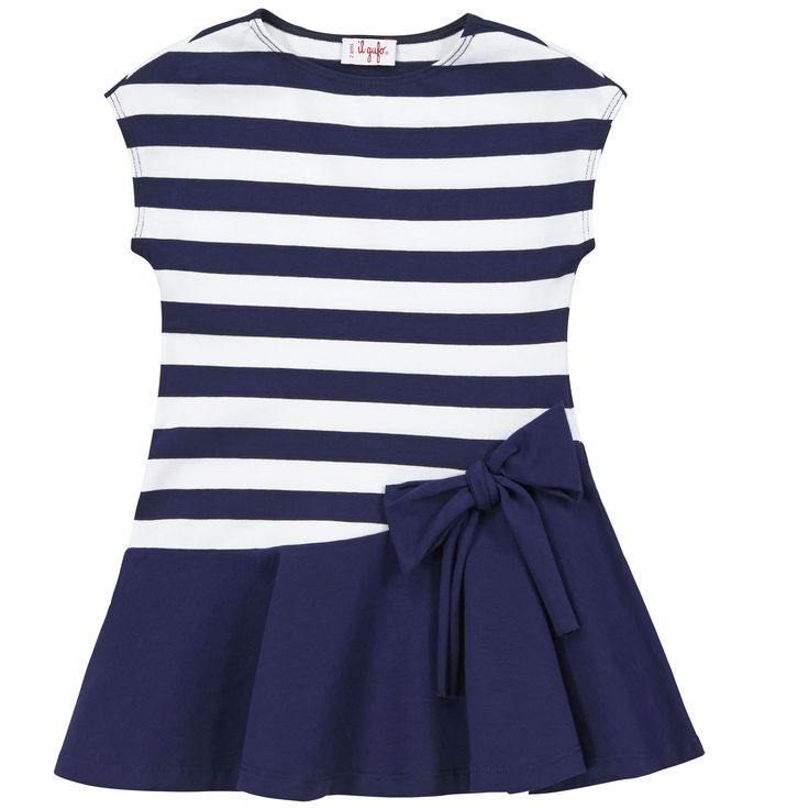 Il Gufo Striped stretch jersey dress Blue - 70744 | Melijoe.com