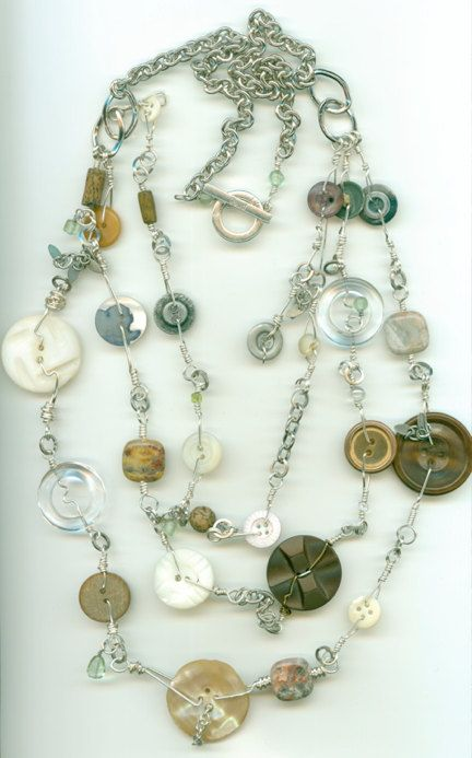 Fun design~~buttons! wire! and chain.