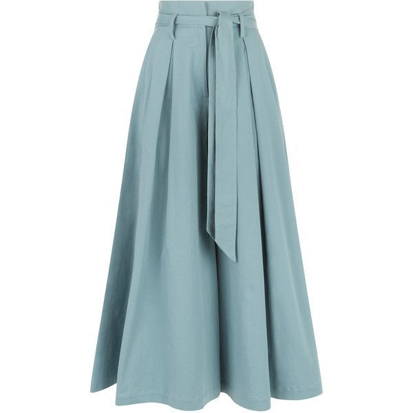 Temperley London Blueberry Tailoring Ruffle Culottes found on Polyvore featuring pants, capris, ruffle pants, blue pants, frilly pants, blue trousers and tailored trousers