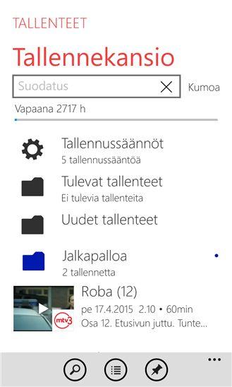 UX design example: Elisa Viihde - Recordings (Windows phone)