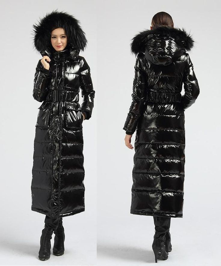 Chic Shiny Black Down Filled Long Coat Raccoon Fur Trim Hood Quilt/Padded Parka  in Clothes, Shoes & Accessories, Women's Clothing, Coats & Jackets | eBay!