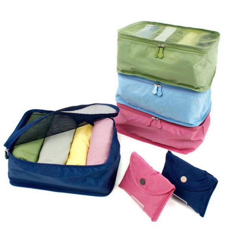 Foldable Portable Nylon Mesh  Storage Bags For Clothes Travel Pouch Luggage Organizer Tidy Box