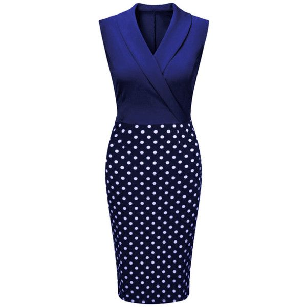 Designed Elegant Lapel Polka Dot Bodycon Dress (265 CNY) ❤ liked on Polyvore featuring dresses, body con dresses, day summer dresses, blue dress, formal dresses and blue formal dresses