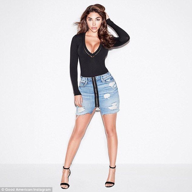Her muse? That same day one of her Good American models, Chantel Jeffries - who used to date Justin Bieber - also posed in the skirt