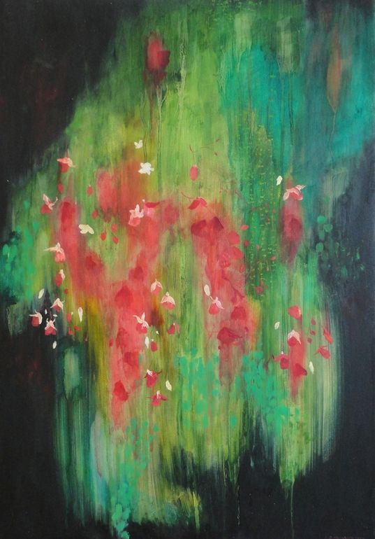 "Katrine Claassens; Oil, Painting ""Hanging Basket, Victoria, Vancouver Island II"""