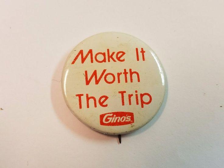 Vintage Ginos Pin Back Pinback Button Advertising Hamburgers 1950s Fast Food 60s