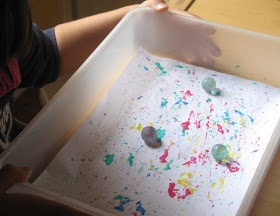 Marble painting craft for Eric Carle's book The Tiny Seed