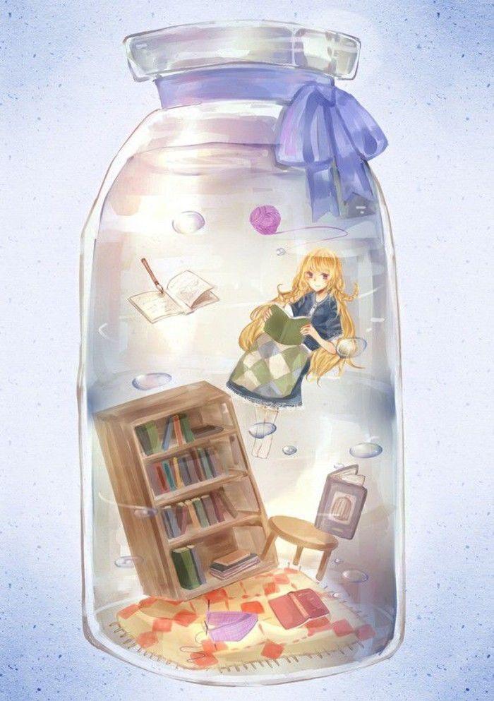 Kết quả hình ảnh cho anime girl in a bottle