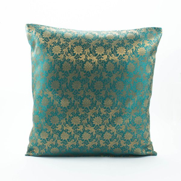 Teal Decorative Bed Pillows : Decorative throw pillow cover 20x20 sham,Dark Teal Green/Gold Silk... ($27) liked on Polyvore ...
