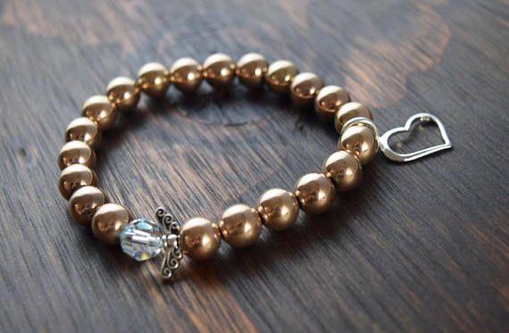 Rose Gold Hematite Bracelet. Bead Bracelet. Rose Gold Bracelet. Women's Beaded Bracelet. Heart Bracelet. Fairy Wings Bracelet. Women's Gift.