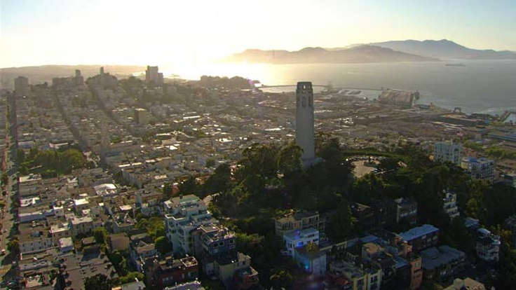 San Francisco, California. Aerial photograph of Coit Tower.