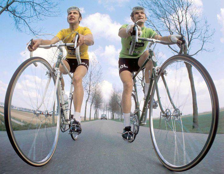 Fedor den Hertog on RIH bike and Cees Priem on Cera bike, 1975