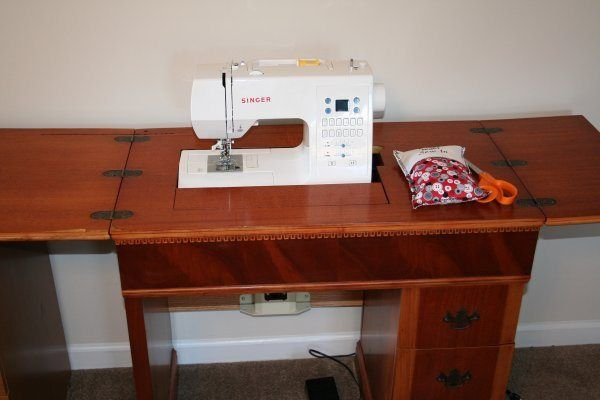 Repurpose old Sewing Machine Cabinet to fit new sewing maching