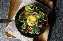 Warm, Crisp and a Little Melty Salad Croutons ~ Meatless Main Dishes