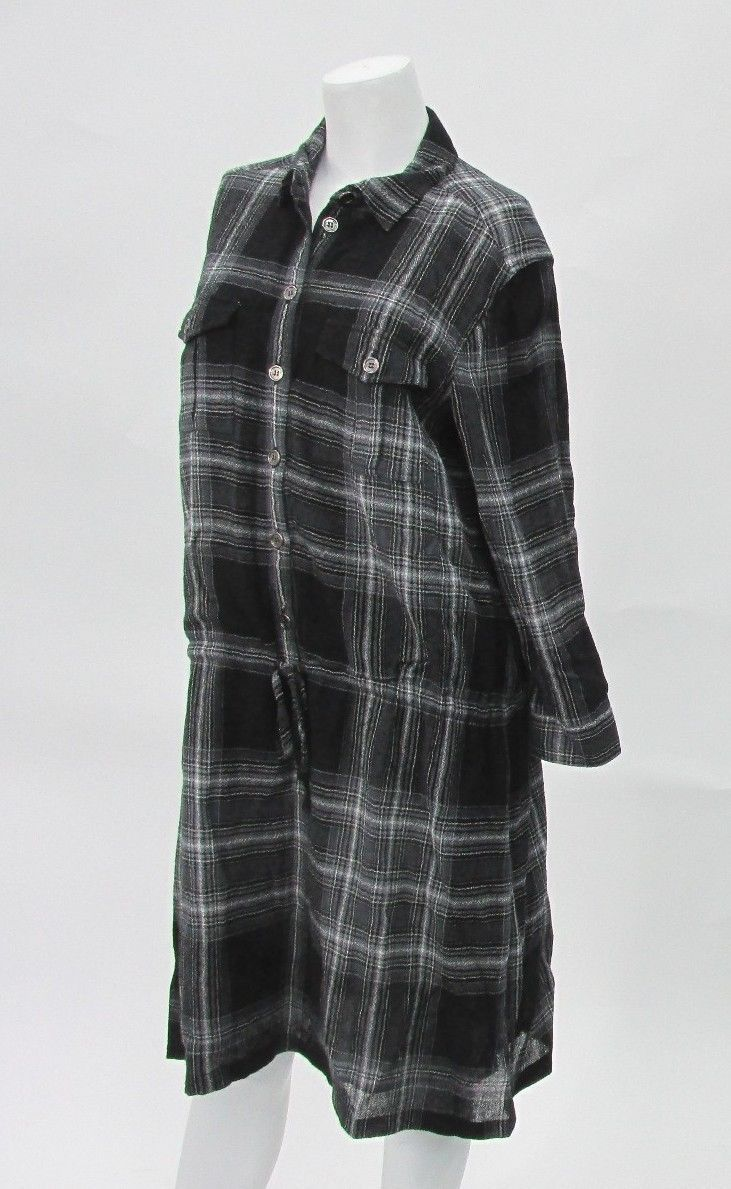 Burberry Brit Black Flannel Shirt Dress Size 8 Viscose Wool Made in Romania | eBay