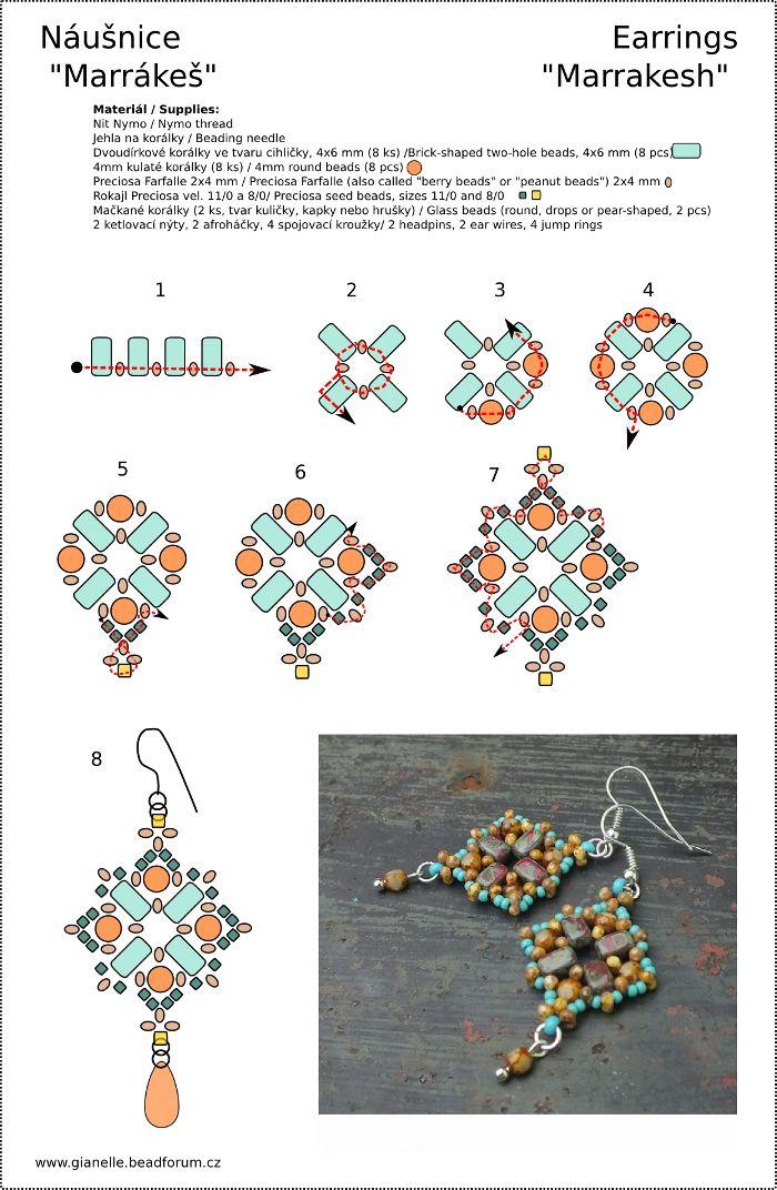 """Marrakesh"" earrings Pattern for my design made for Preciosa Ornela  (more to be seen here: http://www.flickr.com/photos/preciosa-ornela/10834873566/ )"