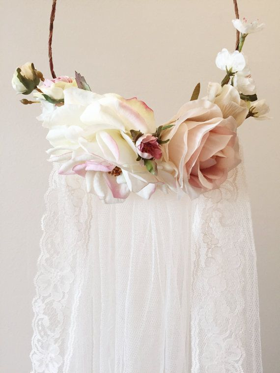 Blush pink flower crown, flower crown veil, bridal headpiece, dusty pink floral crown, woodland wedding, circlet, wedding hair accessories