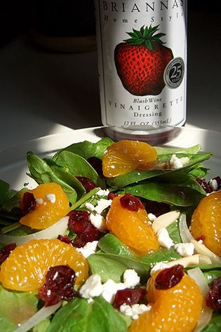 Spinach Salad (mandarin oranges, craisins, almond slivers, feta cheese, Brianna's Blush Wine Vinaigrette)