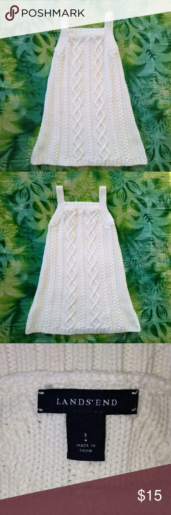 LAND 'S End Cable Knit Tank Top 100% Cotton White Sweater Cable Knit Tank Top Shirt. Pristine White Clean!  Women's Small. In excellent used condition. From a smoke free home. Make an offer! Lands' End Tops