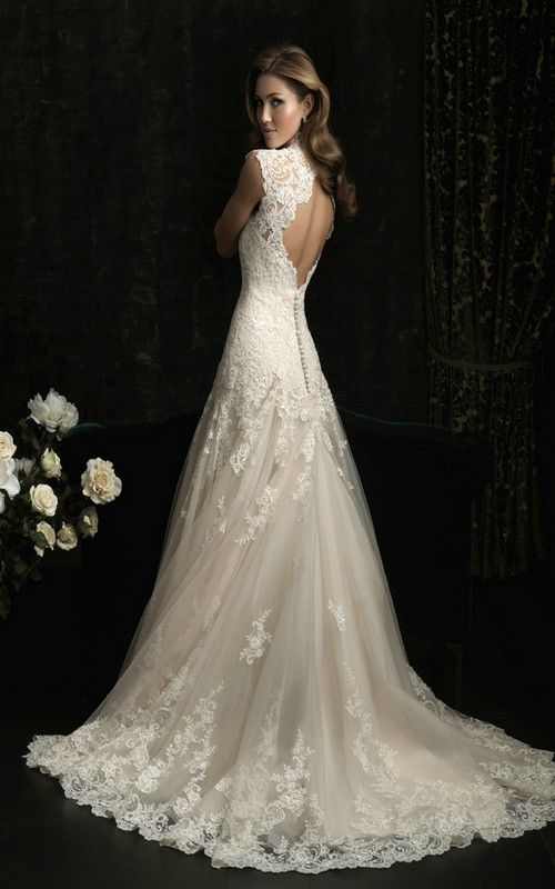 a line wedding dress all over lace features beautiful neckline keyhole back b078