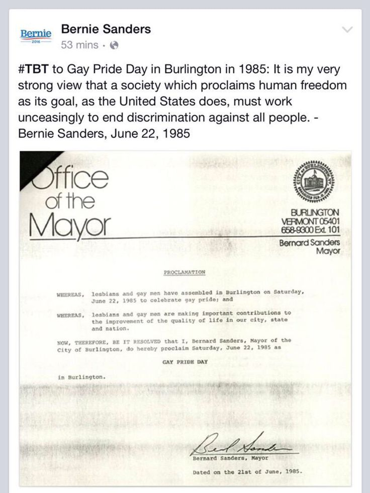 Bernie Sanders posted a throwback to his support for gay rights way back in 1985