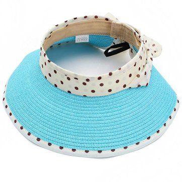 Girl Summer Casual Polka Dot Bow-knot Beach Sun Hat Straw Cap - US$6.65