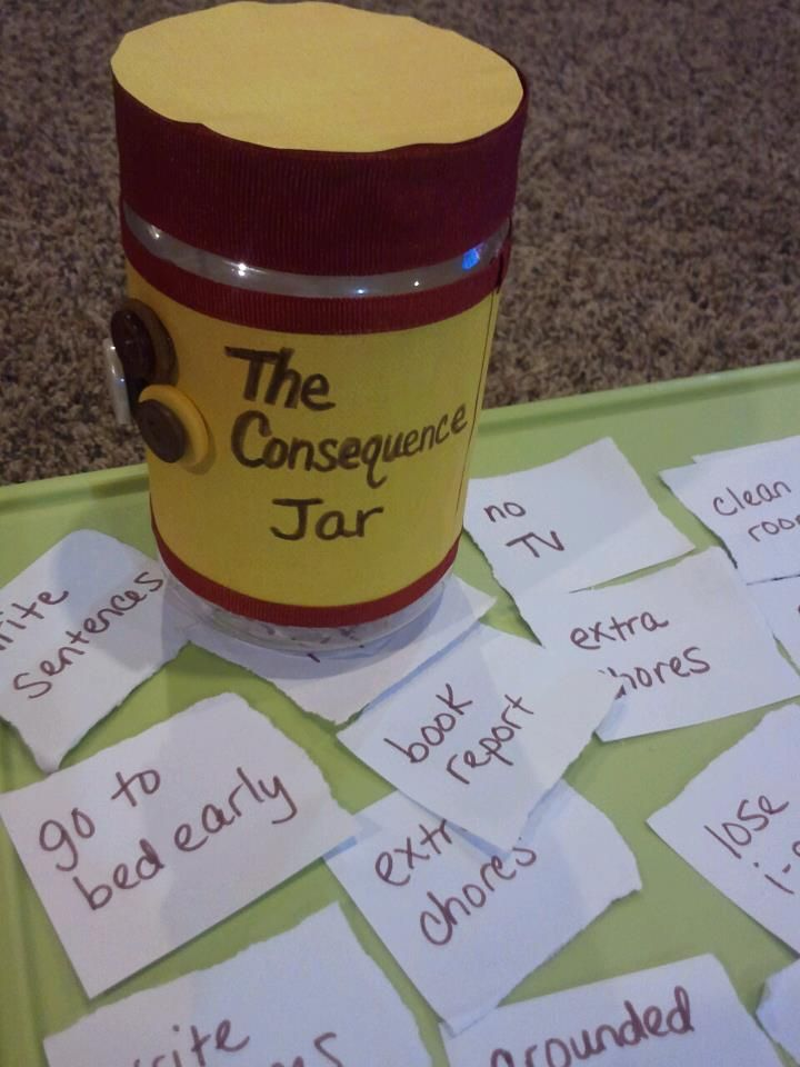 When kids don't follow the rules...they can pick from the consequence jar! Just use a peanut butter container and let them decorate it. Come up with your own appropriate consequences to put inside. :-)