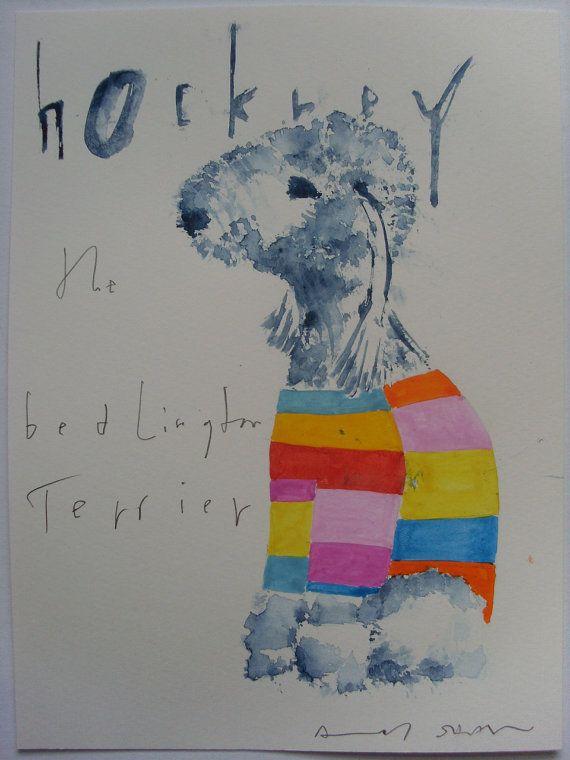 David Hockney the Bedlington Terrier Dog original by AndyShawArt