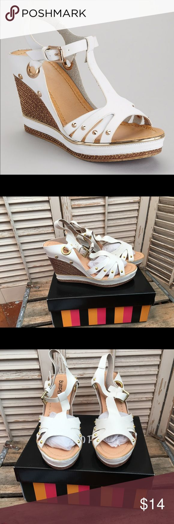 Carissa White Gromit Wedge Sandals - size 7 Time to clean out my closets!!!                                 These white wedge sandals are fun, cute, with just the right amount of edge. I only wore then a couple of times but they were comfortable. Comes with box, from a smoke and pet free home. Bumper Shoes Wedges