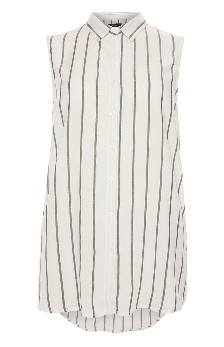 Primark - Ivoorkleurige gestreepte mouwloze blouse