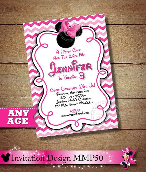 HUGE SELECTION Pink Chevron Minnie Mouse Printable Invitation 2nd 3rd 4th 5
