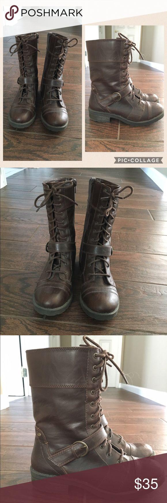 Women's combat boots. Dark brown combat boots. White Mountain Shoes Combat & Moto Boots