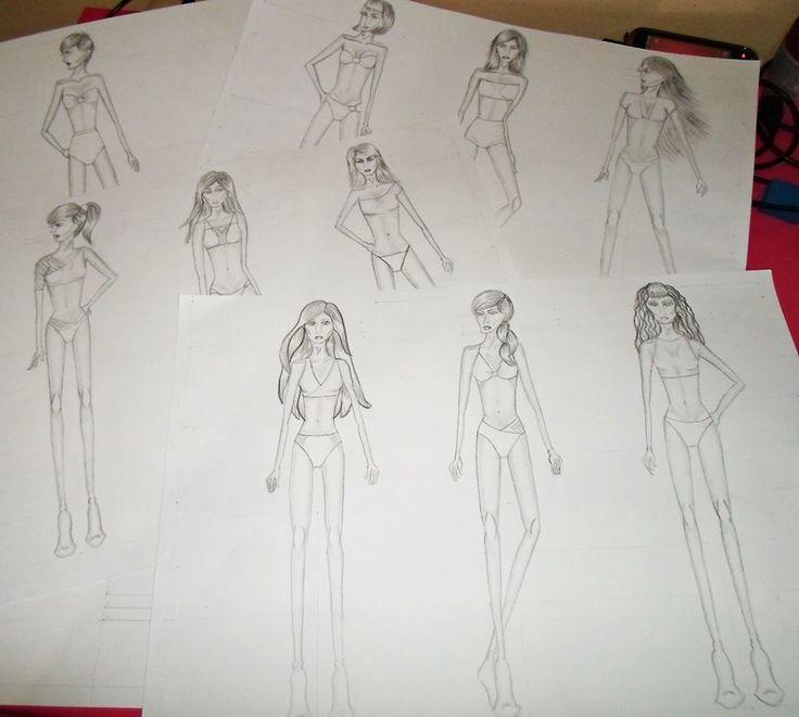 Trabalho realizado para o Centro Universitário Moura Lacerda, curso de Moda, entregue 6/06/2013,criação de 9 croquis femininos, primeira prova da aula de desenho contendo o desenho inicial do corpo feminino