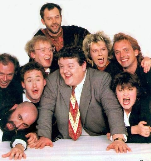 Keith Allen, Peter Richardson, Adrian Edmondson, Jennifer Saunders, Rik Mayall, Alexei Sayle, Nigel Planer, Robbie Coltrane and Dawn French in The Comic Strip Presents