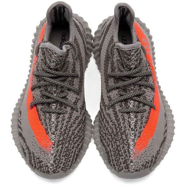 YEEZY Season 2 Grey Orange YEEZY BOOST 350 V2 Sneakers ❤ liked on Polyvore featuring shoes, sneakers, roper shoes, round cap, gray sneakers, gray shoes and adidas trainers