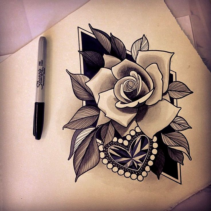72 best rose neo traditional images on pinterest for Neo traditional rose tattoo