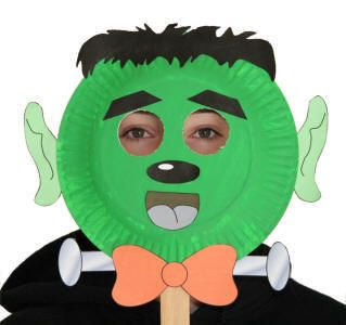 Paper Plate Frankenstein Mask