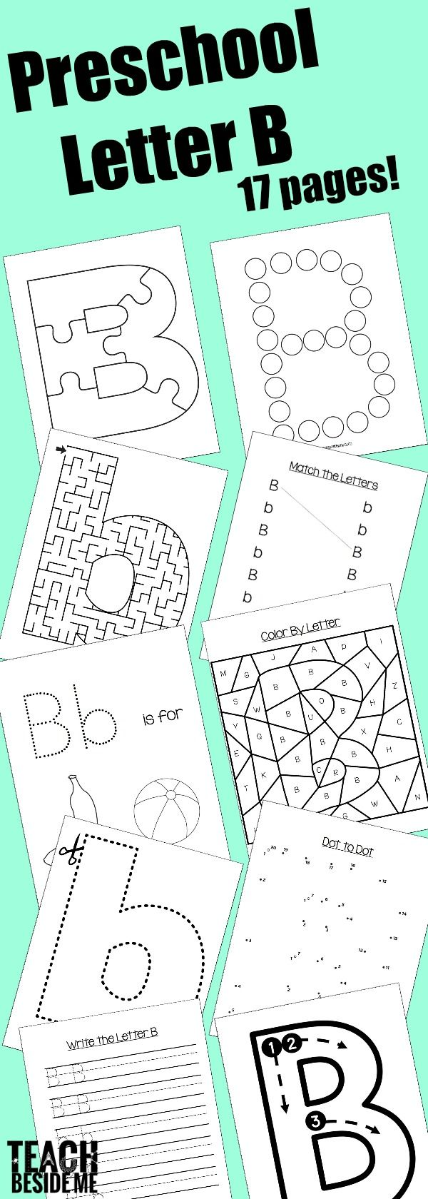 Letter of the week! Preschool Letter B Activities- 17 pages of Letter B Printables, Letter B snack, Preschool Letter B Book list, Letter B Craft, and more!  via @karyntripp