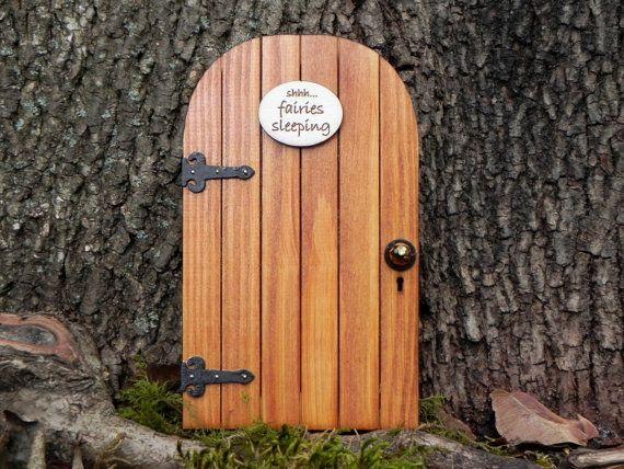 Fairy door fairy garden miniature wood shhh fairies for Little fairy door accessories