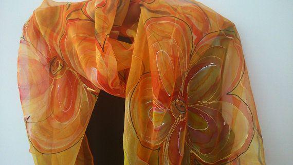 Sciarpa di Chiffon elegante giallo per le signore. di SilkLetters