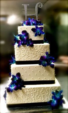 Blue Dendrobium Orchid Wedding cake