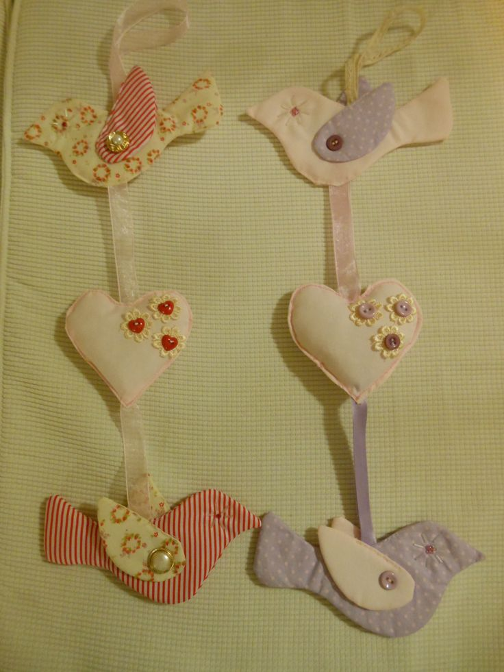 Two fabric birds with heart between,attached by lace and embellished with buttons and lace. Available in various colours schemes.