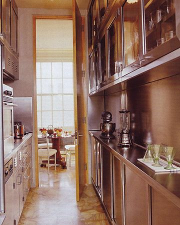 Martha 39 s galley kitchen new york city sliding doors i for Country galley kitchen designs