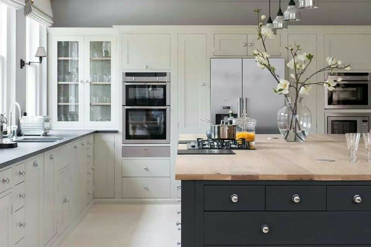 Dark green/grey and white kitchen-great combo