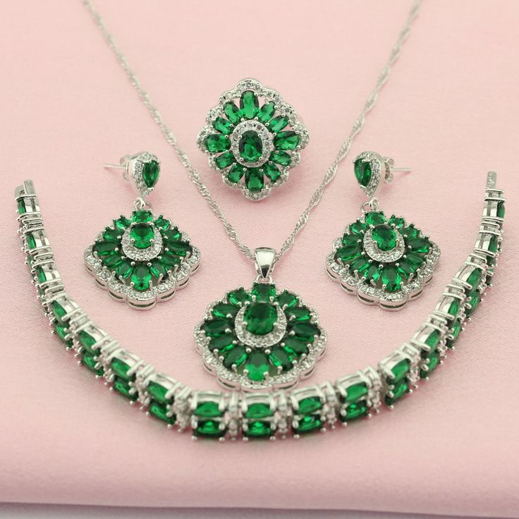 ASHLEY Green Stone Silver Color Fashion Crystal Wedding Jewelry Set For Women Bridal Jewelry Sets Necklace/Earrings Adornment