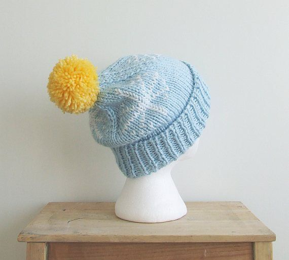 Knit Beanie with Pom Pom, Winter Hat for Woman, Hand Knit Winter Beanie, College Student Gift, Winter Hat for Woman, Woman's Pom Pom Hat